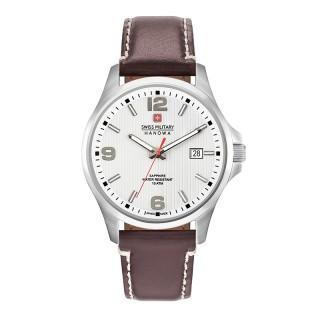 Muški Swiss Military Observer Beli Elegantni ručni sat sa braon kožnim kaišem