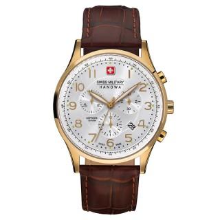 Muški Swiss Military Patriot Chrono Beli Zlatni Elegantni ručni sat sa braon kožnim kaišem