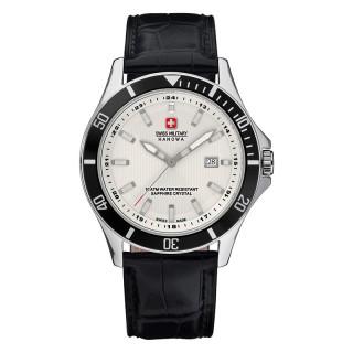 Muški Swiss Military Swiss Flagship Beli Elegantni ručni sat sa crnim kožnim kaišem