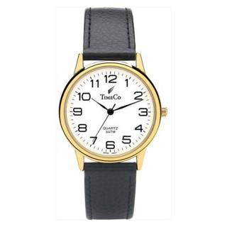 Muški Time Co Zlatni Elegantni ručni sat sa crnim kožnim kaišem