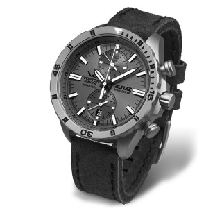 Muški Vostok Europe Almaz Sivi Hronograf Elegantni ručni sat sa sivim kožnim kaišem