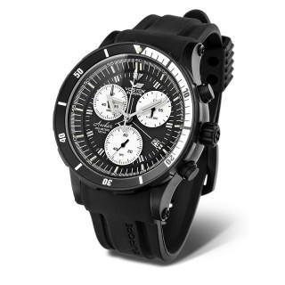 Muški Vostok Europe Anchar Hronograf Crni Sportski ručni sat sa gumenim i kožnim kaišem