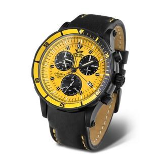 Muški Vostok Europe Anchar Hronograf Žuti Sportski ručni sat sa gumenim i kožnim kaišem