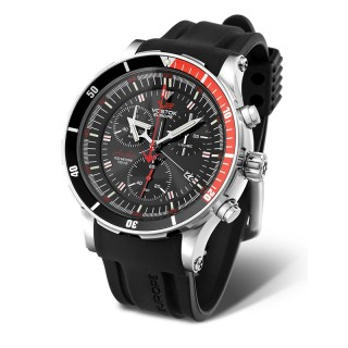 Muški Vostok Europe Anchar Hronograf Srebrni Sportski ručni sat sa gumenim i kožnim kaišem