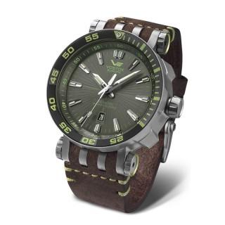 Muški Vostok Europe Energia 2 Automatik Multifunctional Zeleno Srebrni Elegantni ručni sat sa braon kožnim kaišem