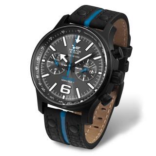 Muški Vostok Europe Expedition North Pole 1 Plavi Hronograf Sportski ručni sat sa crnim kožnim kaišem