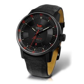 Muški Vostok Europe Gaz 14 Limousine Automatik Crveno Crni Elegantni ručni sat sa crnim kožnim kaišem