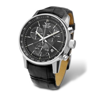 Muški Vostok Europe Gaz 14 Limousine Crni Hronograf Elegantni ručni sat sa crnim kožnim kaišem