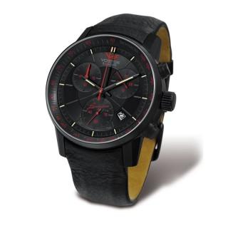 Muški Vostok Europe Gaz 14 Limousine Crno Crveni Hronograf Elegantni ručni sat sa crnim kožnim kaišem