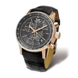 Muški Vostok Europe Gaz 14 Limousine Roze Zlatni Hronograf Elegantni ručni sat sa crnim kožnim kaišem