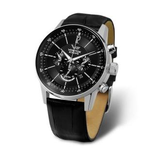 Muški Vostok Europe Gaz 14 Limousine Hronograf Crni Elegantni ručni sat sa crnim kožnim kaišem