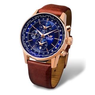 Muški Vostok Europe Gaz 14 Limousine Roze Zlatni World Timer Sound Alarm Plavi Elegantni ručni sat sa braon kožnim kaišem