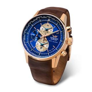 Muški Vostok Europe Gaz 14 Limousine Alltimer Tricijum Plavi Roze Zlatni Elegantni ručni sat sa braon kožnim kaišem