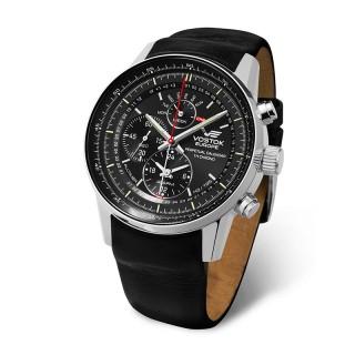 Muški Vostok Europe Gaz 14 Limousine Tricijum Perpetual Crni Elegantni ručni sat sa crnim kožnim kaišem