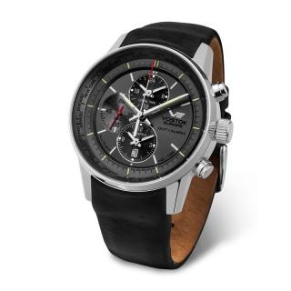 Muški Vostok Europe Gaz 14 Limousine Alltimer Tricijum Sivi Elegantni ručni sat sa crnim kožnim kaišem