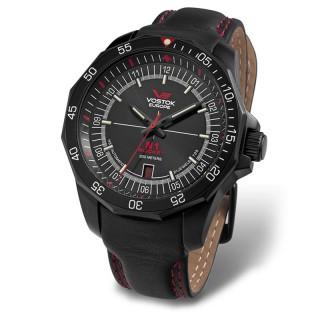 Muški Vostok Europe N1 Rocket Automatik Crveni Elegantni ručni sat sa crnim Kožnim Kaišem