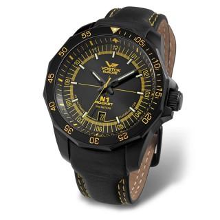 Muški Vostok Europe N1 Rocket Automatik Žuti Elegantni ručni sat sa crnim Kožnim Kaišem