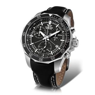 Muški Vostok Europe N1 Rocket Crni Hronograf Elegantni ručni sat sa crnim kožnim kaišem