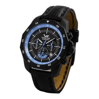 Muški Vostok Europe N1 Rocket Hronograf Plavi Sportski ručni sat sa crnim kožnim kaišem