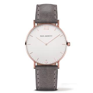 Paul Hewitt Sailor Line Beli Roze Zlatni ručni sat sa sivim kožnim kaišem
