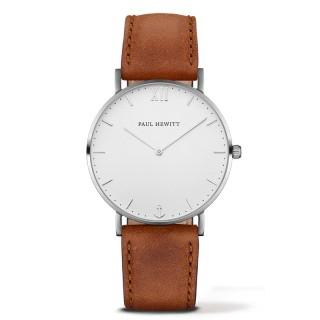 Paul Hewitt Sailor Line Beli Srebrni ručni sat sa braon kožnim kaišem