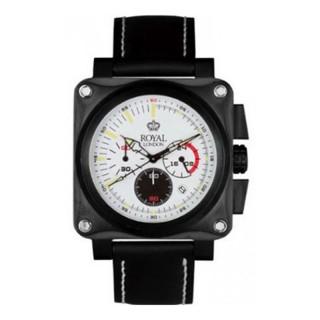 Royal London Vintage Beli Sportski Kvadratni ručni sat sa crnim kožnim kaišem