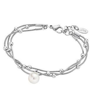 Ženska Lotus Style Pearls Bela Biserna Narukvica Od hirurškog Čelika Beli Biser