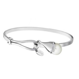 Ženska Lotus Style Pearls Srebrna Narukvica Od hirurškog Čelika Biserna Kap