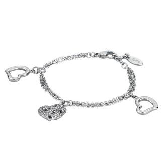 Ženska Lotus Style Woman's Heart Narukvica od hirurškog čelika sa Srce Srcastastim priveskom