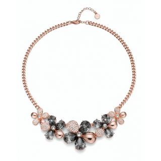 Ženski Oliver Weber Bloom Rosegold Black Diamond Roze Zlatna Ogrlica sa swarovski sivim kristalima