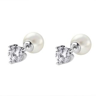 Ženske Lotus Silver Pure Essential Srebrne Dvostrane Minđuše Kristal Biser 8 mm