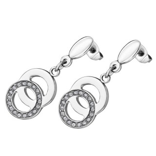 Ženske Lotus Style Bliss Viseće Minđuše Od hirurškog Čelika Kristalni Dvostruki Prsten