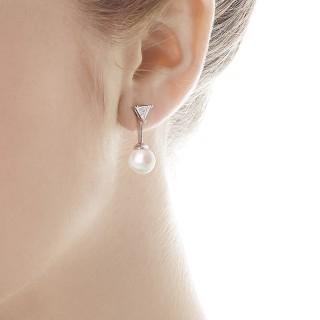 Ženske Majorica Satis Bele Biserne Srebrne Viseće Minđuše Sa Kristalima 9 mm