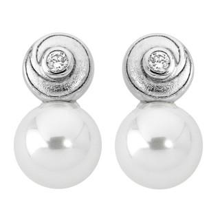 Ženske Majorica Spiral Bele Biserne Srebrne Mindjuše 10 mm
