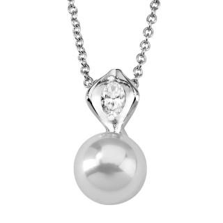 Ženske Majorica Tu y Yo srebrni Lančić sa Belim Bisernim priveskom sa kristalima 12 mm