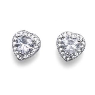 Ženske Oliver Weber Meaning 925Ag Crystal Srebrne Srce Minđuše Sa Swarovski Belim Kristalom