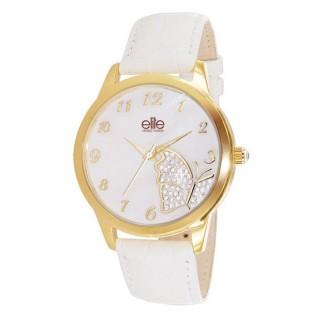Ženski Elite Butterfly Zlatni Modni Ručni Sat sa belim kožnim kaišem