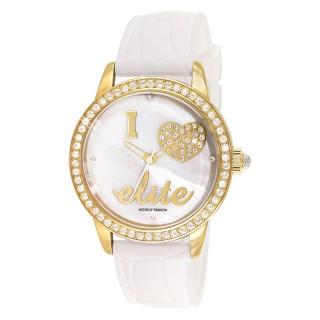Ženski Elite Zlatni Modni ručni sat sa belim kožnim kaišem