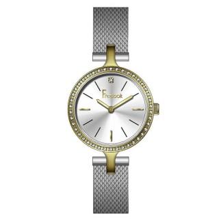 Ženski Freelook Lumiere Beli Kristal Zlatni Modni Ručni Sat Sa Srebrnim Pancir Kaišem