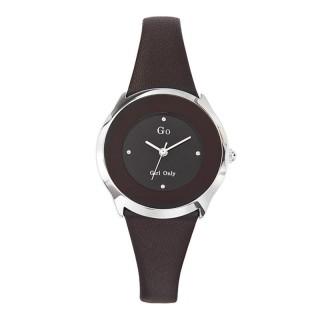 Ženski Girl Only Eblouis moi Crni Elegantni ručni sat sa crnim kožnim kaišem