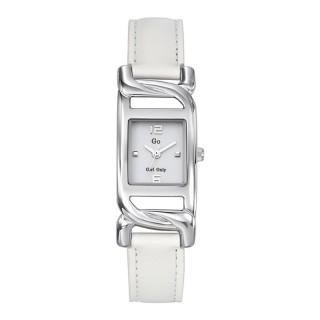 Ženski Girl Only Kvadratni Beli Elegantni ručni sat sa belim kožnim kaišem