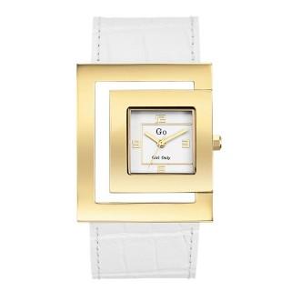 Ženski Girl Only Zlatni Elegantni Kvadratni ručni sat sa belim kožnim kaišem