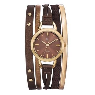 Ženski Girl Only Enlace moi Zlatni Elegantni Braon ručni sat sa braon kožnim kaišem