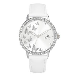 Ženski Girl Only Envole moi Leptir Beli Modni ručni sat sa belim kožnim kaišem