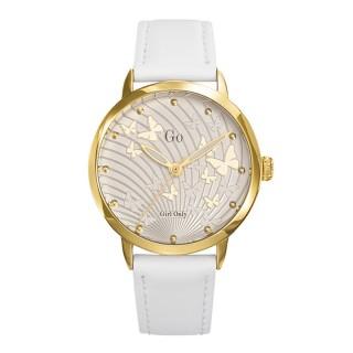 Ženski Girl Only Envole moi Leptir Zlatni Modni ručni sat sa belim kožnim kaišem
