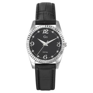 Ženski Girl Only Envole moi Crni Modni ručni sat sa crnim kožnim kaišem