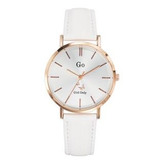 Ženski Girl Only Seduis moi Roze Zlatni Elegantni Beli ručni sat sa belim kožnim kaišem
