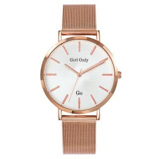 Ženski Girl Only Seduis moi Roze Zlatni Beli ručni sat sa roze zlatnim pancir metalnim kaišem