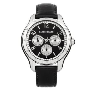 Ženski Karen Millen Elegantni Crni ručni sat sa crnim kožnim kaišem