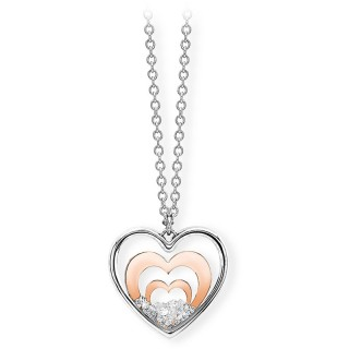 Ženski Roze Zlatni Lančić Stakleno Kristalno Srce Daylight 2Jewels Od Hirurškog Čelika